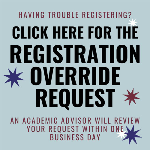 Button to submit a registration override request.