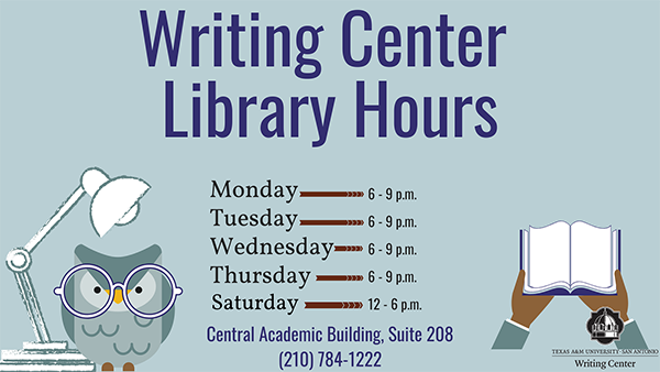Writing Center Library Hours
