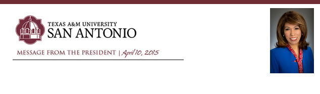 Message from the President - April 10, 2015