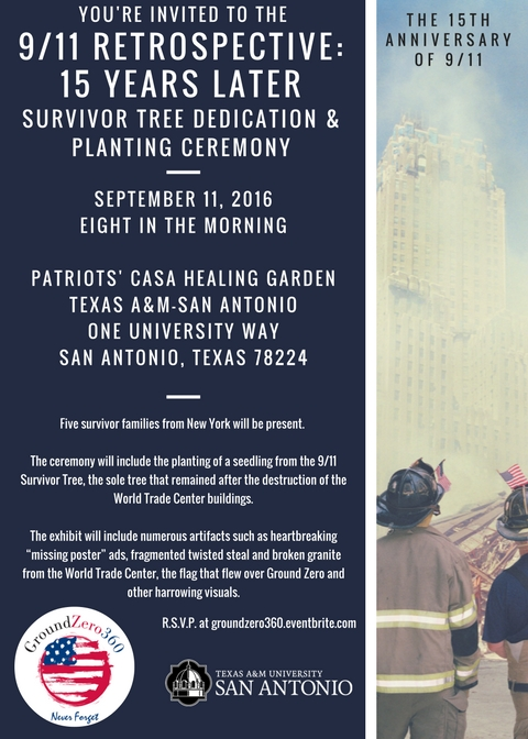 Ground Zero 360 brings 9/11 exhibit to Texas A&M University-San Antonio for the 15th anniversary of the September 11, 2001 attacks