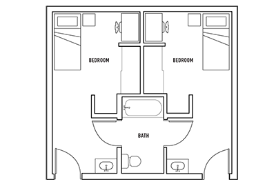 Floor Plan - 2 bedroom 1 bath private