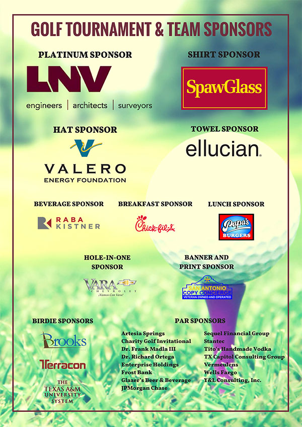 Special Thanks to all our Golf Tournament & Team Sponsors