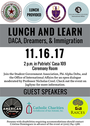 Lunch and Learn DACA, Dreamers & Immigration on November 16 at 2 p.m. at Patriots' Casa Ceremony Room