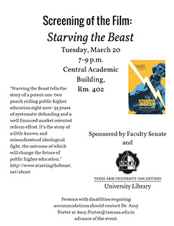 Screening of the File: Starving the Beast.  March 20, 2018 from 7 p.m. - 9 p.m. in Central Academic Building - Room 402