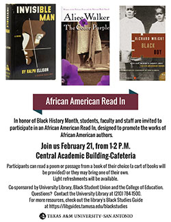 African American Read In - February 21, from 1-2pm at cafeteria