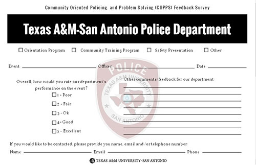 Sample COPPS Feedback Survey card
